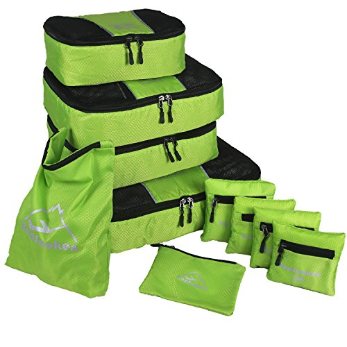 10 Pcs Each Bag - Hopsooken 6 Set Packing Cubes Travel Luggage Packing Organizers Laundry Pouches(10 pcs, Green)