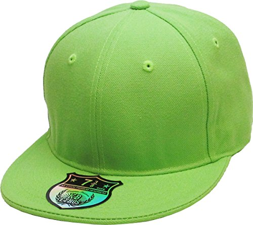 KBETHOS KNW-2364 LIM (7 1/8) The Real Original Fitted Flat-Bill Hats True-Fit, 9 Sizes & 20 Colors Lime