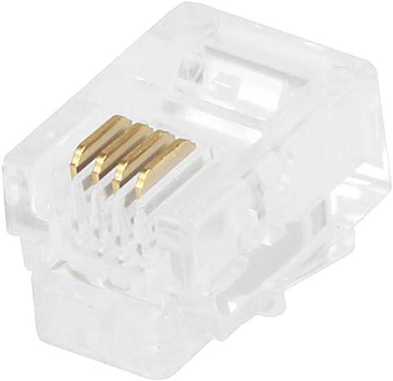 50 Pack GOWOS Phone//Data RJ12 Crimp Connectors for Flat Cable 50 Pieces 6P6C