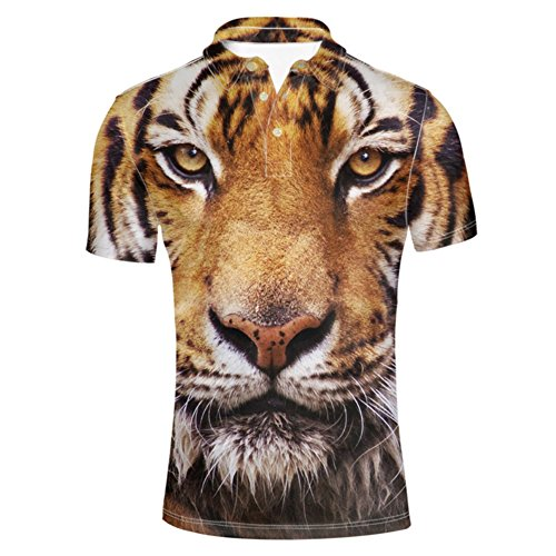 HUGS IDEA Tiger 3D Printed Mens Classic Pique Golf Polo Shirt Summer Hipster Fashion Short Sleeve Tops
