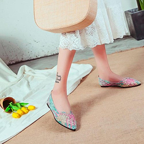 Women Casual Bohemia Multicolor Ballet Slip On Flats Pointed Toe Loafer Flats Green qtqjV4Iz7