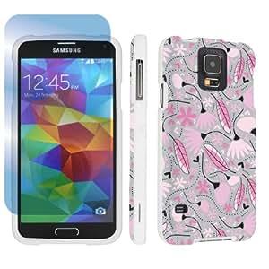 SkinGuardz Samsung Galaxy S5 Hard Protection Case + Screen Protector - (Pink Autumn Love White)