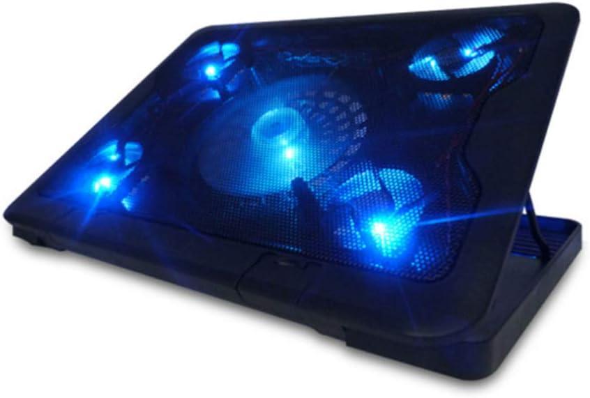 Mobestech Laptop Cooling Pad Slim Portable Adjustable 5 Quite Fans Blue LED Light Notebook Cooler Stand Holder Riser for Computer Tablet
