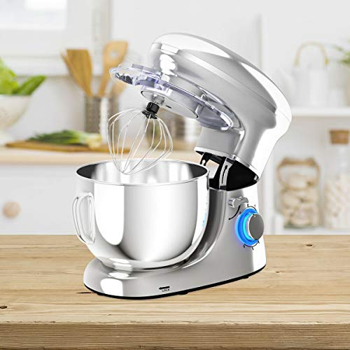 Custpromo 6 Speed 6.3 QT 660W Tilt-Head Kitchen Electric Stand Mixer with Stainless Steel Bowl Food Stand Mixer w/ 3 Mixing Attachments,Dough Hook, Beater, Whisk (Silver)