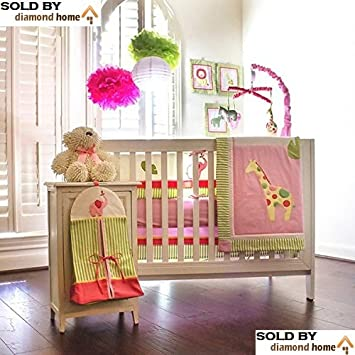 amazon com 10 piece safari zoo jungle baby bedding crib sets pink