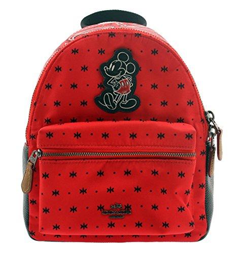 COACH F59831 MINI CHARLIE BACKPACK IN PRAIRIE BANDANA PRINT WITH MICKEY QB/BRIGHT RED BLACK -