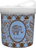Gingham & Elephants Plastic Ice Bucket (Personalized)