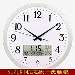 Imoerjia 16 Inch Clocks Wall Clock Creative Living Room Wall Table Calendar E Clock