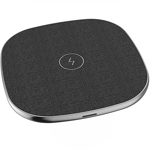 Wireless Charger,QI Certified,5V/2A for Most Normal QI-Enable Cellphone,9V/1.67A for Fast Charging Smartphones Like Samsung Galaxy S9/S9 Plus/S8/Note 8/5/S7,Leather Outer & Metal Shell(Black)