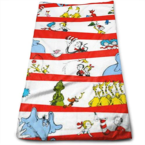 Celebrate Seuss Character Stripe White Red Multi-Purpose Microfiber Towel Ultra Compact Super Absorbent and Fast Drying Sports Towel Travel Towel Beach Towel Perfect for Camping, Gym, Swimming. -