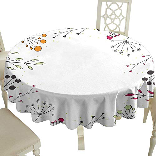 100% Polyester Washable Table Cloth for Circular Table 65 Inch Modern,Floral Branches with Geometric Flowers Nature Artwork Print,White Magenta Amber Pistachio Green_1 Great for,Wedding & More