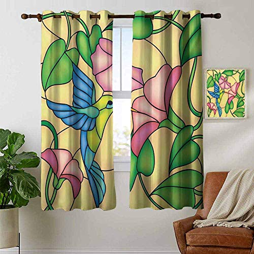 """petpany Bedroom Curtains Hummingbird,Stained Glass Style Bird and Hibiscus Tropical Flora and Fauna Illustration,Multicolor,Thermal Insulated Room Darkening Window Shade 42""""x54"""""""