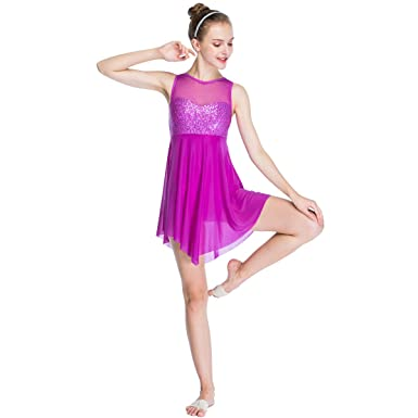 c3b28c636 MiDee Lyrical Dress Dance Costume Illusion Sweetheart Sequines Tank Top  Trianglar Skirt (XXSC, Magenta