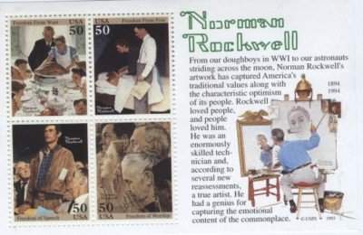 Mint Hinged Souvenir Sheet - Norman Rockwell Souvenir Sheet Scott 2840 depicting the Four Freedoms. Mint never hinged.