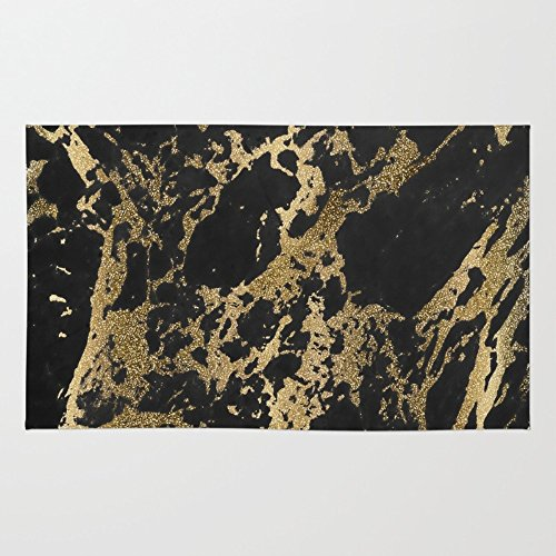 4' Woven Glitter - Society6 Modern Faux Gold Glitter Black Marble Rug 4' x 6'