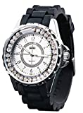 Black Silicone Diamond Waterproof Watches for Girls