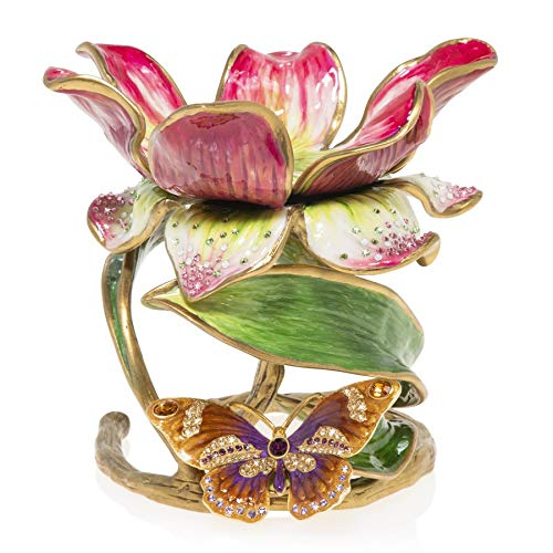 """Jay Strongwater Aimee Floral 7"""" Pillar Candle Holder #SDH2370-476"""