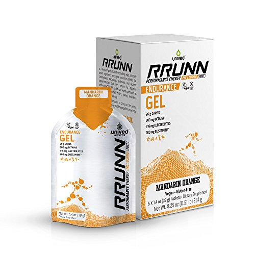 Unived RRUNN Endurance Gel, Nutrition Energy Gel for Endurance Athletes, Runners, Cyclists, Triathletes, Ultramarathon Runners, Vegan, Pack of 6 (Mandarin Orange (6pack))