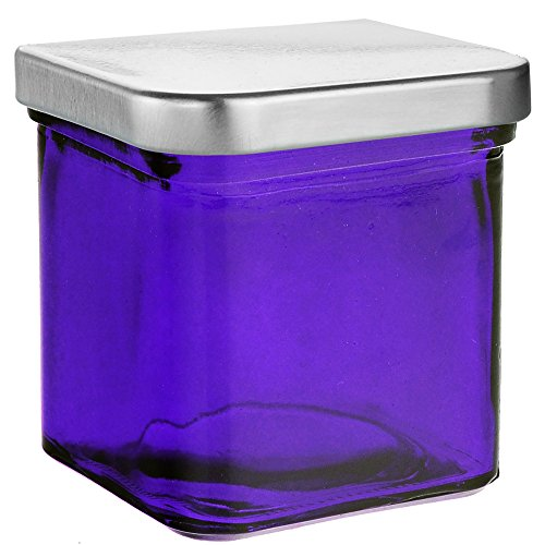 8a6e48ef312f Couronne Company 7527G21-C Square Recycled Glass Candle Container, 8.5 oz,  Violet
