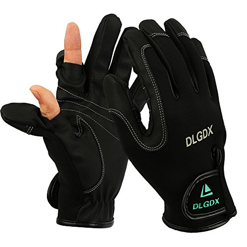 Womens Photographer Black Leather (Goture Outdoor Sport 2 Cut Fingers Gloves Anti-slip Skidproof for Fishing Hunting Riding Cycling)