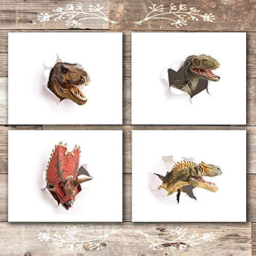 Dinosaur Wall Art Prints (Set of 4) - Unframed - 8x10s | Includes a T-Rex and Velociraptor! - Dinosaur Art