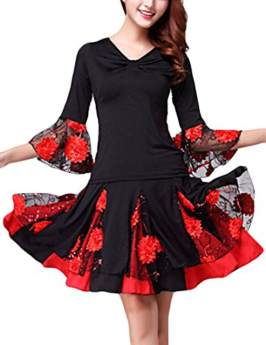 MFrannie Women's Latin Dance Floral Dress Costume Suit Set Top and Skirt Black Red L (Latin Dancing Costume Patterns)