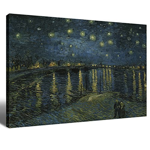 Framed Rhone Art (Canvas Wall Art Decorations Painting for Living Room Home Decor Wood Vincent Van Gogh Hand-painted Artwork Starry Night Over The Rhone One Piece Picture Framed Wall Art House Decor Ready to Hang 16x24)