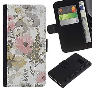 For Samsung Galaxy S6 SM-G920,S-type® Rustic Vintage Wallpaper Floral Pattern - Dibujo PU billetera de cuero Funda Case Caso de la piel de la bolsa protectora