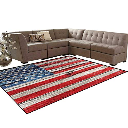 Rustic American USA Flag Door Mats Area Rug Fourth of July Independence Day Painted Wooden Panel Wall Looking Image Freedom Anti-Skid Area Rugs 6'x9'