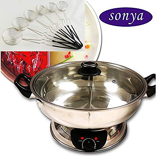 Buy Bargain Bonus Package Sonya Shabu Shabu Hot Pot Electric Mongolian Hot Pot W/DIVIDER with 6 spoo...
