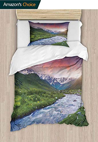 Home 2 Piece Print Quilt Set,Colorful Overcast Sky Skirts Mt. Shkhara Svaneti Georgia Caucasus Mountains with 1 Pillowcase for Kids Bedding 59