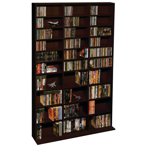 Dvd Cd Media Storage Tower - Atlantic Oskar Adjustable Media Wall-Unit - Holds 1080 CDs, 504 DVDs or 576 Blu-Rays/Games, 30 Adjustable and 6 Fixed Shelves PN38435714 in Espresso