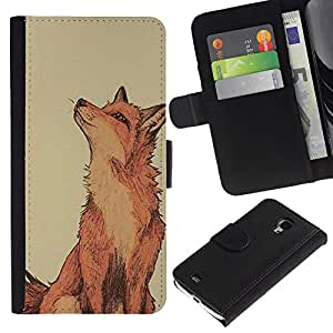 KingStore / Leather Etui en cuir / Samsung Galaxy S4 Mini i9190 / Clever Vignette jaune mignon