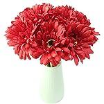 JAROWN-10-pcs-Silk-Daisy-Artificial-Gerbera-Flowers-Chrysanthemum-Flocking-Stems-for-Wedding-Hotle-Christmas-Party-DecorationRed