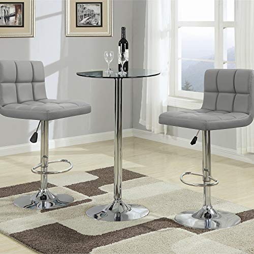 Homall Modern PU Leather Adjustable Swivel Barstools, Armless Hydraulic Kitchen Counter Bar Stools Synthetic Leather Extra Height Square Island Bar Stool with Back Set of 2 (Gray)