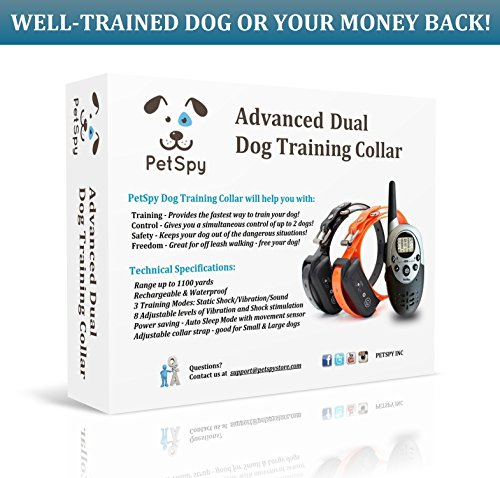 PetSpy-1100-Yard-Waterproof-Rechargeable-Remote-Training-Dog-Collar-with-Beep-Vibration-and-Electric-Shock-for-2-Dogs