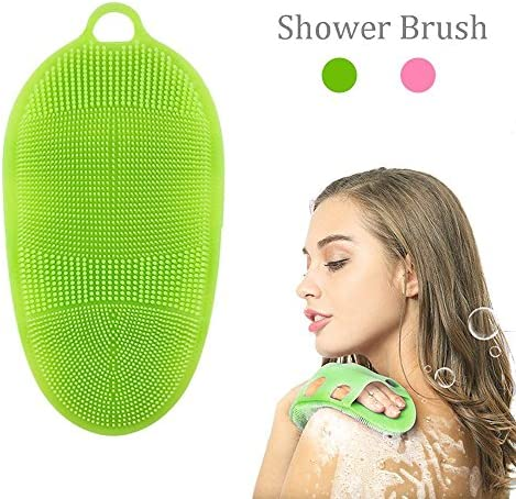 Aolvo Körperbürste aus weichem Silikon, zur Körperwäsche, für Bad, Dusche, Peeling-Handschuh, Massage-Schrubber, Reiniger, 100% reines Silikon, Duschbürste