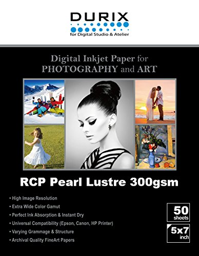 RCP Pearl Lustre 300gsm Digital Inkjet Paper for Photography and Art (5-x-7) by DURIX