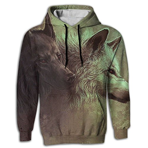 Double Headed Snake (Black White Double-Headed Wolf Men's Hoodie Realistic 3D Printed Pullover Sweater Hoody With Pocket)