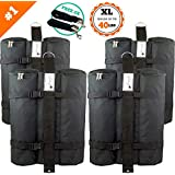 SET of 4 LARGE Canopy Weight Bags - FREE Hurricane Straps - Heavy Duty (Hold ...