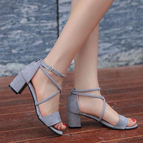 Negras EU36 Sandals Correa SHOESHAOGE Correas Heeled Dew Mujer Roman Gruesas Zapatos con Zapatos High De Eu38 Slotted Zapatos Y qUPRF