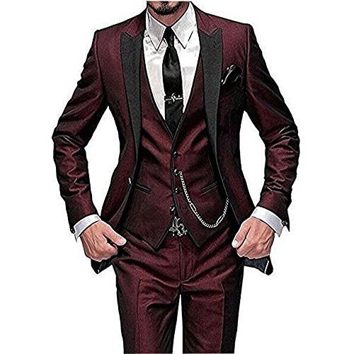 One Button 3 Pieces Burgundy Wedding Suits Notch Lapel Men Suits Groom Tuxedos Burgundy 46 chest / 40 waist Burgundy Tuxedo