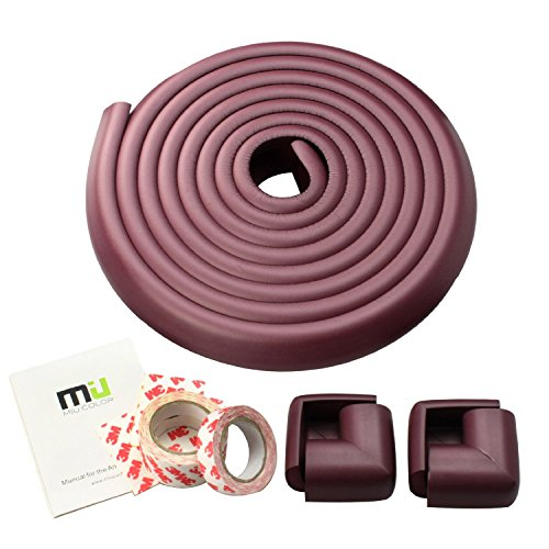 MIU COLOR® Baby Safety Table Desk Edge Corner Cushion with 4 Corner Guards, Comes with 13ft, Long & More Protection for Child in a Soft Way (Coffee Color)