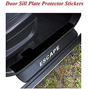 for Ford Escape Door Sill Protector Reflective 4D Carbon Fiber Sticker Door Entry Guard Door Sill Scuff Plate Stickers Auto Accessories 4Pcs Red