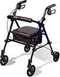 Carex Step 'N Rest Rollator, Rolling Walker with Padded Seat and Backrest, Adjustable Handles with Locking Handbrakes, Weight Capacity of 250 lbs.