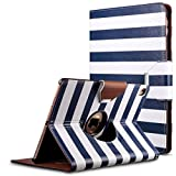 iPad Pro 9.7 inch Case,ULAK 360 Rotating Smart Synthetic Leather Case Stand Cover for Apple iPad Pro 9.7 Inch_2016 Release Tablet(Blue/White Stripes)