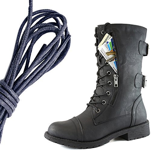 DailyShoes Womens Military Lace Up Buckle Combat Boots Mid Knee High Exclusive Credit Card Pocket, Navy Twlight Black