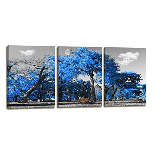 Canvas Print Wall Art Painting Contemporary Blue Tree In Black And White Style Fall Landscape Picture Modern Giclee Stretched And Framed Artwork Home Decorations And Office Decor 12x16inches 3pcs/set