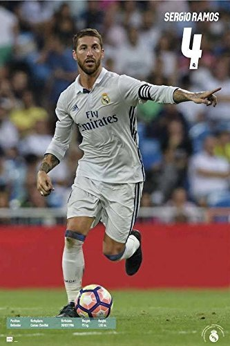 """Real Madrid - Sports Poster / Print (Sergio Ramos #4 In Action 2016/2017) (Size: 24"""" x 36"""")"""