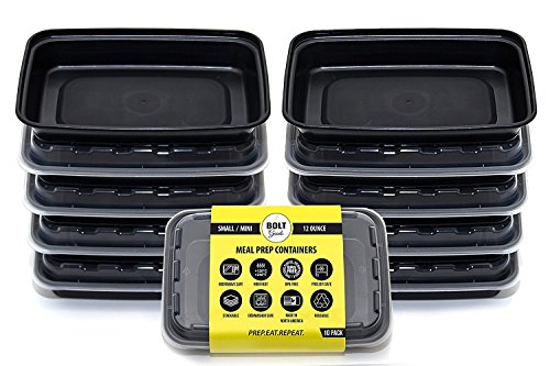Bolt Goods SMALL Meal Prep Snack Containers (10 Pack - 12 Ounce) MADE IN USA - Reusable Washable Microwavable Plastic Food Storage Bento Box with Lids - BPA FREE